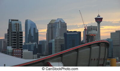 calgary buildings at dusk