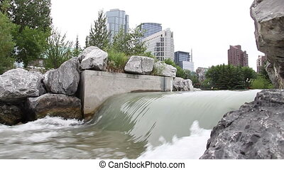 downtown calgary spillway - Rushing water at the spillway in...
