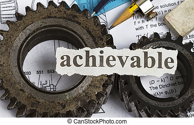 Achievable abstract with gears and drawing tools