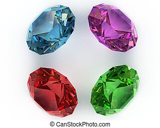 Multi-coloured gemstones - Multi-coloured faceted gemstones....