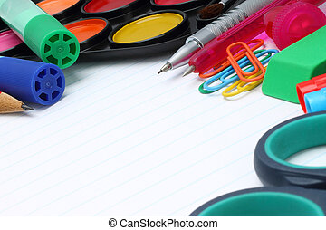 School office supplies on a white background