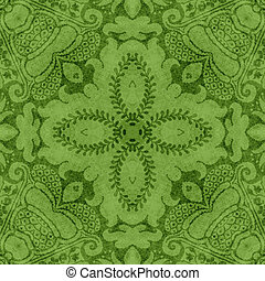 Vintage Green Floral Tapestry - Seamless worn green tapestry...