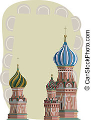 Kremlin Towers - Frame illustration with Kremlin towers,...