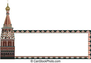 Frame with Kremlin Tower - Frame illustration with Kremlin...