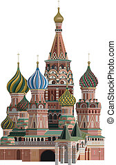 Kremlin - Illustration of Saint Basil Cathedral, isolated on...