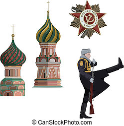 Russian Symbols - Illustration of Kremlin towers, soldier...