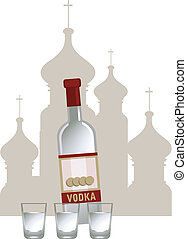 Russian Vodka - Illustration of russian vodka and Kremlin...