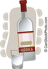 Russian Vodka - Illustration with a vodka bottle and glass,...