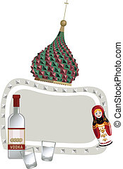 Matryoshka and Vodka - Frame illustration with Kremlin dome,...