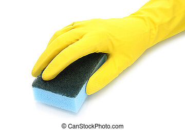 Hand with rubber glove and cleaning sponge on white...