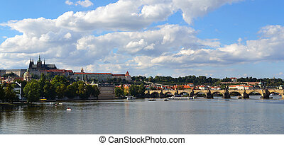 Prague - view with Vltava River
