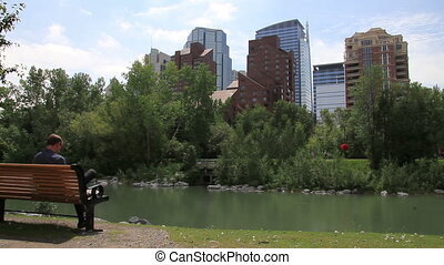 downtown calgary man on bench