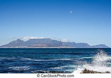 View of Cape Town from Robben Island - View of Cape Town,...