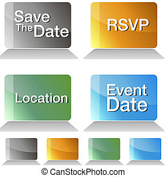Save The Date Jewel Tone Buttons - An image of a save the...