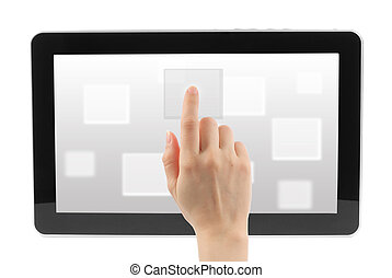 Woman hand with touch screen interface on white background