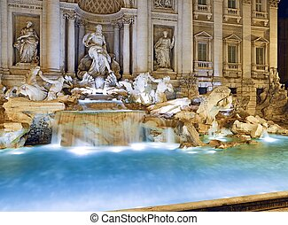 Trevi Fountain, Rome - beautiful night image of the eternal...