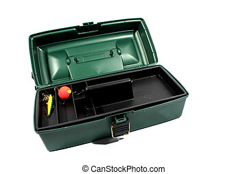 Tackle Box - Isolated open green tackle box with bobber and...