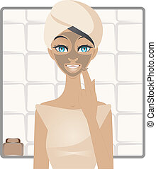 Beauty with mud facemask - A vector illustration of young...