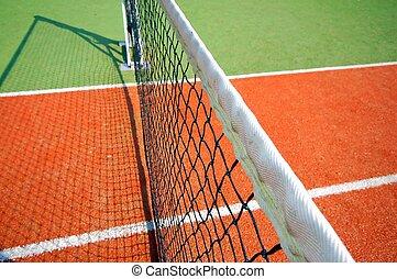 Tennis Court - tennis court close up, photo split in half by...