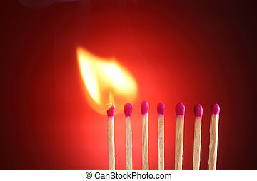 Burning Matches - burning matches on the red background
