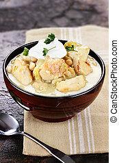White Chicken Chili - A delicious bowl of white chicken...