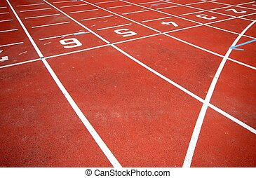 Runners racetrack - numbers of a racetrack, on red tarmac,...