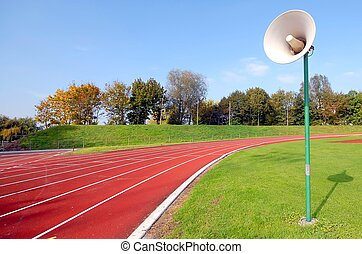 Racetrack for runners, with speaker - racetrack for runners...
