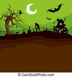Halloween Night - illustration of abandoned haunted house in...
