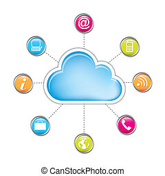 cloud computing with communication icons isolated. vector