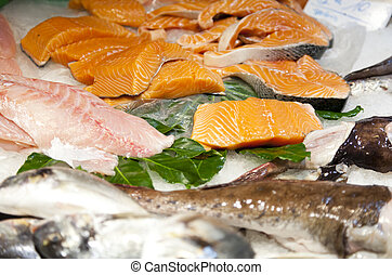Fresh fish - Assortment of fresh fish at a market