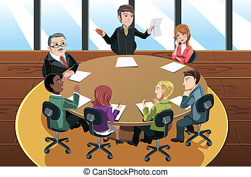 Business meeting - A vector illustration of a business...