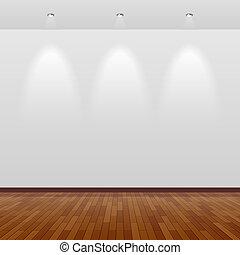vazio, sala, branca, parede, madeira
