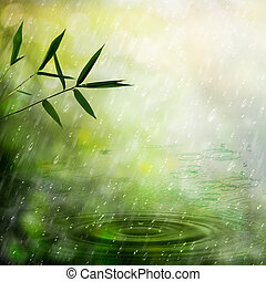 Misty rain in the bamboo forest. Abstract natural...