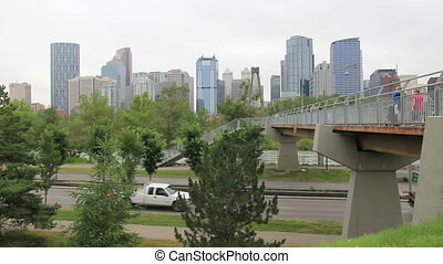 calgary walking bridge wide - Downtown Calgary from across...