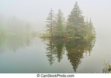 Fog on Spruce Lake in Vermont - Spruce Lake on Route 9 near...