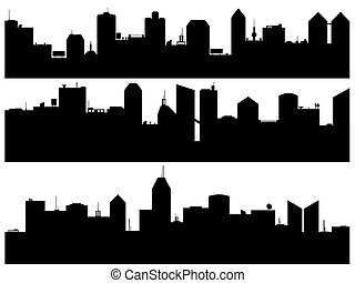 Set of cityscape illustrated