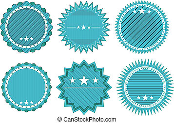 blue badge - illustration set of blue vintage badge with...