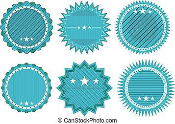 blue badge - illustration set of blue vintage badge with...