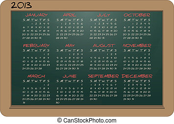 chalkboard 2013 calendar - illustration of chalkboard with...