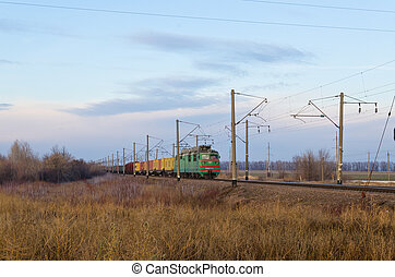 The railway a moving freight train