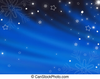 Christmas blue background with snowflakes and stars