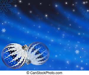 Christmas blue background with snowflakes and ball