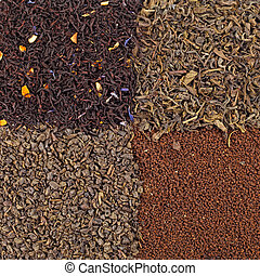 Assortment of dried tea  - green, black , dtifferen