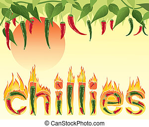 hot chillies - an illustration of hot red and green chillies...