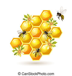Bees and honeycomb on white - Bees, honeycombs and flowers...