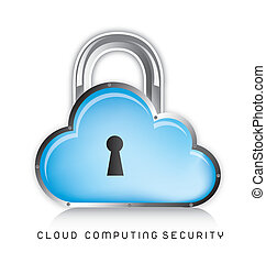 cloud computing security icons over white background vector