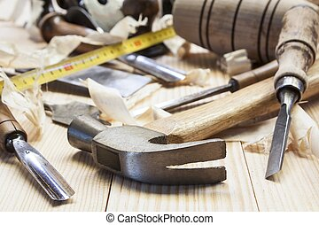 carpenter tools,hammer,meter and screw-driver on...