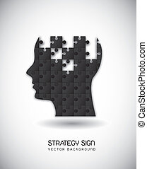 strategy vector - silhouette man with puzzles over gray...
