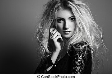 Photo of beautiful woman with magnificent hair Fashion photo...