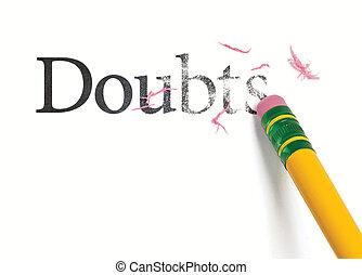 Erasing Doubts - Close up of a yellow pencil erasing the...